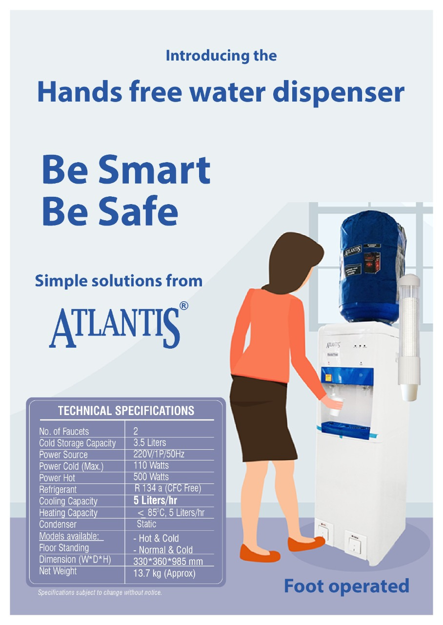 Atlantis Foot operated water dispenser Hot & Cold specification